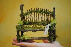 Fairy bench - i really like the simplicity of this one - twigs and moss  ********************************************   TreeStarHollow - #fairy #garden #miniature #bench #furniture - tå√