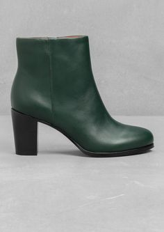 & OTHER STORIES | High-Heel Ankle Boots in green | 100% cow leather upper, Cushioned leather insole and a rubber-covered leather outsole | Heel height: 7.7 cm | £95