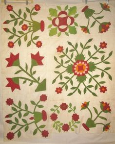 Two Appliqued Quilt Pieces Red Green Calicos C 1880 Floral Designs | eBay, madhouserags