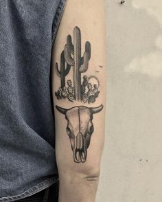 Bull skull and cacti for Victoria. #btattooing #blacktattooart #tttism #tattoo…