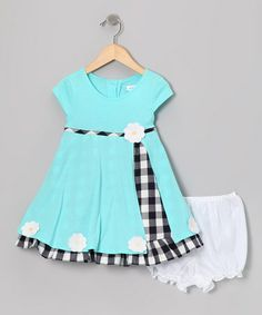 Take a look at this Aqua Daisy Jersey Dress & Bloomers - Infant by Gidget Loves Milo on #zulily today!