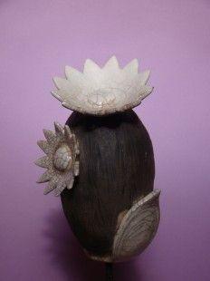 Fleur  Aldébaran,  Grande Albaniz en raku, émail  Blanc. : Accessoires de maison par poterie-kerozen sur ALittleMarket