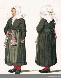 """Solemn dress for special occasions. """"Högtidsdräkt. Gagnefs socken, Dalarna"""""""