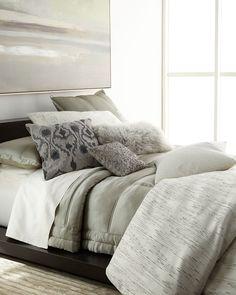 Collection Silk Euro Sham, Metallic Gray - Donna Karan Home