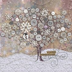 Winter Wonderland…nice button art…just for inspiration Winter Wonderland…nice butt Crafts To Make, Arts And Crafts, Paper Crafts, Button Picture, Button Crafts, Button Art Projects, Fabric Art, Altered Art, Holiday Crafts