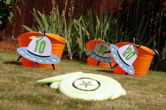 UFO toss game--how cute for a space themed party!