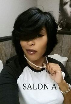 Feathered Bob :: Ask for Anika Watts at Salon A, in african american feathered bob hairstyles - Bob Hairstyles Medium Hair Styles, Natural Hair Styles, Short Hair Styles, Bob Styles, My Hairstyle, Girl Hairstyles, Feathered Hairstyles, Black Hairstyles, Straight Hairstyles