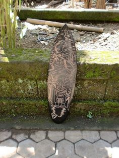 Wooden Surfboard w/ Hawaiian Islands, Palm Trees & Tiki 32""