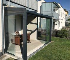 Sommergarten mit flexiblen Glasschiebetüren in Ottensheim / OÖ montiert #Sommergarten #Glasüberdachung #Sunflex #Glasschiebetüren #glass #sliding #doors