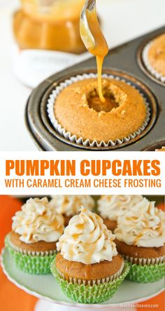 Pumpkin Cupcakes With A Caramel Cream Cheese Frosting. These cupcakes are absolutely amazing and really simple to make. Pumpkin Cupcakes With A Caramel Cream Cheese Frosting. These cupcakes are absolutely amazing and really simple to make. Fall Desserts, Just Desserts, Delicious Desserts, Yummy Food, Delicious Cupcakes, Cupcake Recipes, Baking Recipes, Cupcake Cakes, Dessert Recipes