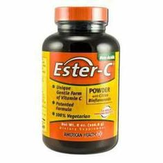 American Health Products - Ester C Powder W/Citrus Biofl., 8 oz powder by American Health. $18.15. Does Not Contain: Gluten, yeast, wheat, milk or milk derivatives, lactose, sugar, preservatives, soy, artificial color, artificial flavor, sodium (less than 5mg per serving), Non-GMO, suitable for Vegans.. Ester-C, the patented form of Vitamin C, provides 24-hour immune support, is non-acidic, and contains naturally-occurring metabolites for quick absorption.* And, since it is supp... Ester C, Vitamin C Powder, Vitamins, Nutrition, Personal Care, Vegan, Health Products, Food, Self Care