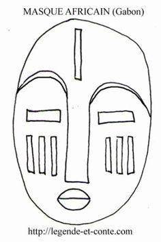 coloriage-masque-africain (Fang du Gabon)