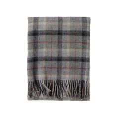 """Happy Fall Y'all- Time To """"Throw"""" Down. Plaid throw in shades of grey and a line of red.  - Living With Color Designs"""