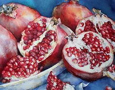 Watercolor still life with apples Watercolor Fruit, Fruit Painting, Watercolor Paintings, Watercolors, How To Open Pomegranate, Pomegranate Fruit, Fruit And Veg, Fruits And Vegetables, Protea Art