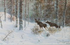 "Muraviov Vladimir Leodinovich (Russian,1861-1940), ""Winter Landscape with a family of Moose"" by sofi01, via Flickr"