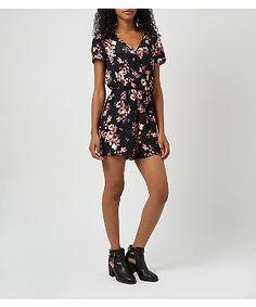 7f2ea55c5c3 Black Floral Print Wrap Playsuit