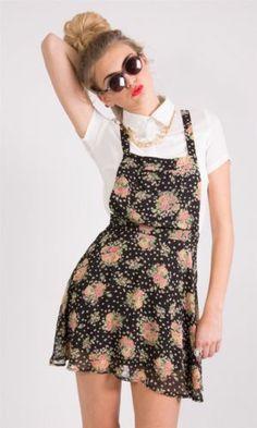 Floral Print Chiffon Bib Pinafore Dress £12.99 http://hiddenfashion.com/dresses/hidden-fashion-womens-ladies-floral-print-chiffon-bibed-pinafore-skater-dresses.html #chiffon #floral #printed #bib #pinafore #dress
