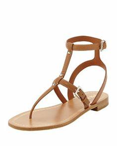 Prada Studded Leather Ankle-Wrap Thong Sandal, Tan