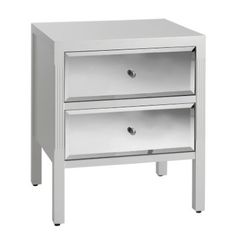 - Bedside with 2 Mirrored Drawers - Ivory Product code :