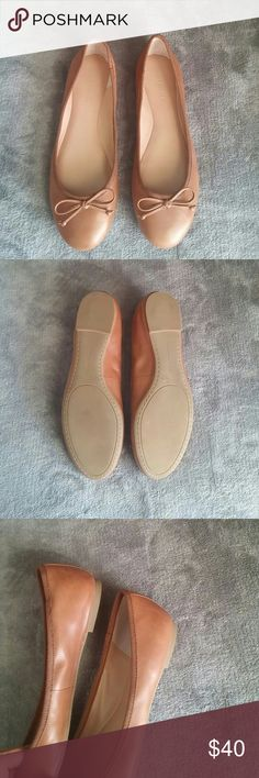 Banana Republic Cognac Leather Flats Very good condition. Only tried on. Too small for me.  Leather exterior. Lining and sole are other materials. Some light scratches as is normal with leather. Bow detail.  Note: these might feel tight but they do stretch to a comfortable level with use. I have a pair in size 9 and they were tight at first but now they're just right.  Not much wiggle room on price. Send best offer :) Banana Republic Shoes Flats & Loafers