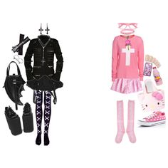 ♡ LIKE NIGHT AND DAY ♡ by bloodbuzz on Polyvore featuring Wildfox, Criminal Damage, Converse, Maria Francesca Pepe, Bernhard Willhelm, fred flare, Hello Kitty, fairy kei, visual kei and lolita