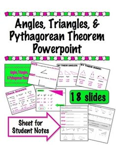 Angles, Triangles, & Pythagorean Theorem Powerpoint w/ Notes $
