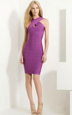 Classic Bright Violet Herve Leger Crisscross Bandage Dress