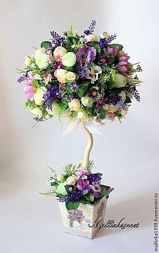 """Купить Топиарий, дерево счастья """"Фиона"""" - фиолетовый, топиарий, топиарий дерево счастья, Топиарии"""