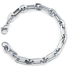 Simple Splendor: Unisex Stainless Steel Rectangular Link Bracelet Peora. $19.99