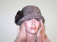 c3f6a5a3965 Green Tweed Fabric Cloche Fall Winter Women s Hat