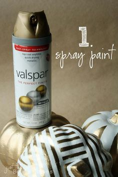 Totally Fun twist on decorating pumpkins! Gold and White spray paint your…