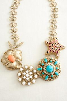coral & turquoise statement necklace