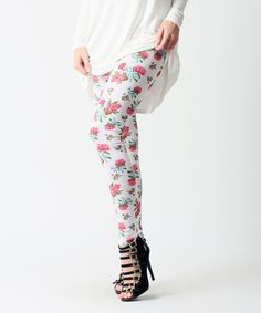 Loving this Pops Basic White & Mint Floral Leggings on #zulily! #zulilyfinds