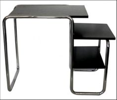 One of the pieces of furniture that Marianne Brandt designed while working for Walter Gropius. It was aspects of Moholy-Nagy's metal works in the layering of metal but is a more concise and practical and keeping with Brandts industrial aesthetic.