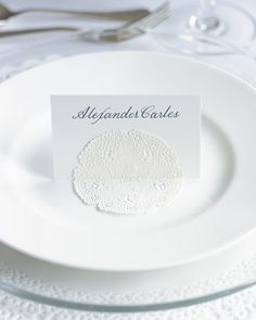 Waxed Doilies as name card holder