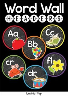Back to School Classroom Decor: Word Wall Headers - alphabet, long vowels and blends. Chalkboard or white background options included.
