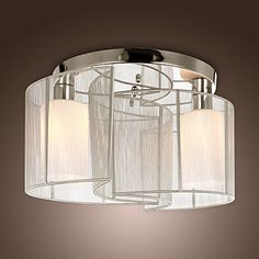 Modern Simple Designed Silver Flushmount with 2 Lights – USD $ 99.99