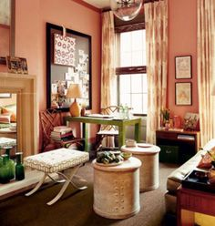 A Romantic Peach Interior Pink Room, Peach Walls, Coral Walls, Room Interior ,