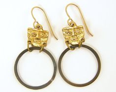 Tribal Hoop Earrings Ethnic Face Brass Circle Rustic Global Chic Jewelry Fashion Under 25 for Her
