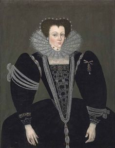 Unknown lady. c.1590. The quantity of pearls on display can only mean that this lady is very high status.She may be a young widow and coming to the end of mourning which could be why she is so lavishly bejeweled.