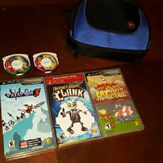 Sony Psp games 5 games with 3 in the original cases and 2 in game cases   Games: Secret Agent Clank, Mortal Kombat, Thrillville, Fat Princess Fistful of Cake, and Patapon 3 Sony  Other