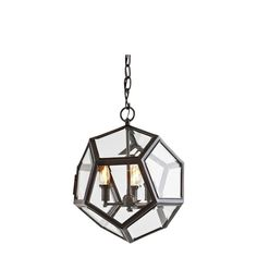 Eichholtz+Yorkshire+Lantern+Medium+Gunmetal+-+Geometric+contemporary+glass+pendant+lamp.+Add+an+unusual+ambiance+with+this+eclectic+fitting.+Each+lamp+has+a+stylish+faceted+clear+glass+finish+which+is+completed+with+dark+gunmetal+metal+frame.  Lampholder+3+x+E14+bulbs+(not+included).  Lampshades+can+also+be+added+to+this+fitting+(sold+separately)+and+are+available+in+a+variety+of+colours.