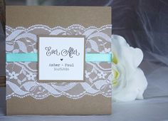 Rustic kraft and teal lace wedding invitations from always, by amber!