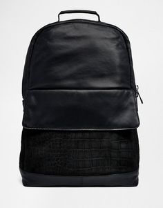 ASOS | ASOS Leather Backpack With Suede Embossed Front Pocket at ASOS