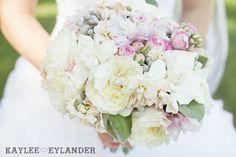 Modern pink grey white wedding bouquet