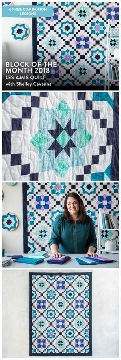 2018 Block of the Month: Les Amis Quilt Kit + class by Craftsy. Grab a friend and some of your favorite block units such as flying geese, hour-glass quarters and 60 degree triangles to stitch together the stunning Les Amis Block of the Month Quilt!