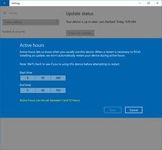 Windows 10 Active Hours