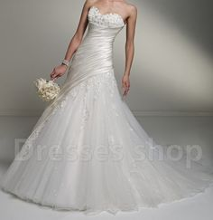 White/Ivory tulle Off-shoulder Bridal Ball Gown Formal Wedding Dresses Custom 08 on Etsy, $168.00