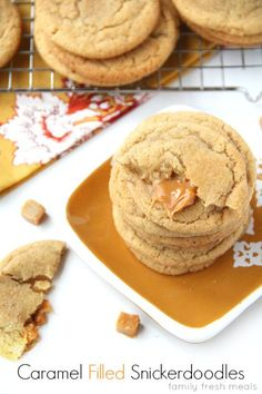 Soft and Chewy Caramel Filled Snickerdoodle Cookies