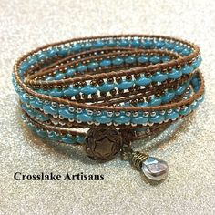 7da16a490184 Four-wrap turquoise bracelet with delicate copper and silver beads. Leather  wrap